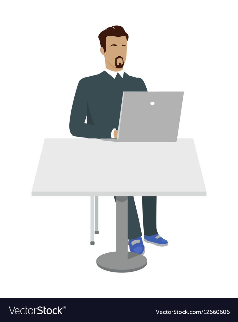 Business Man Working with Laptop in Office