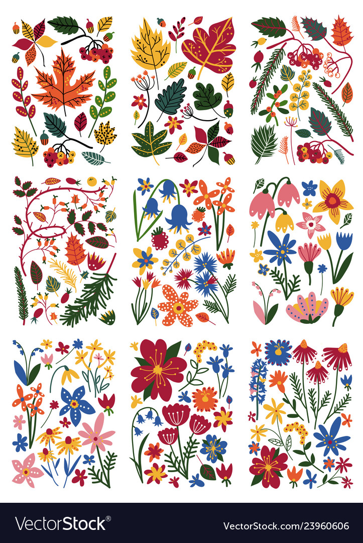 Collection of floral patterns set colorful spring