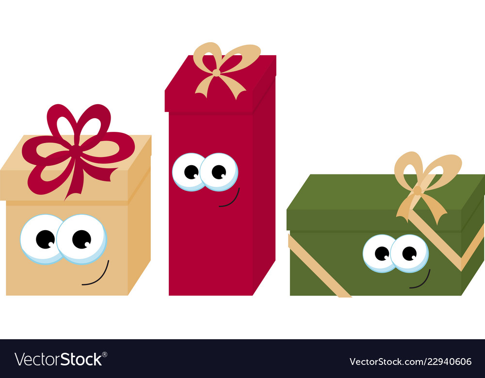 Colorful wrapped smiling gift boxes with eyes