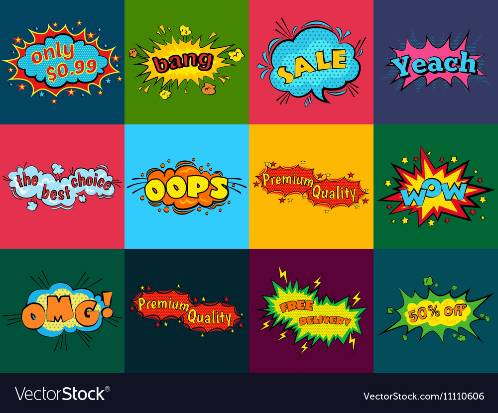 Comic sound effects in pop art style Sound