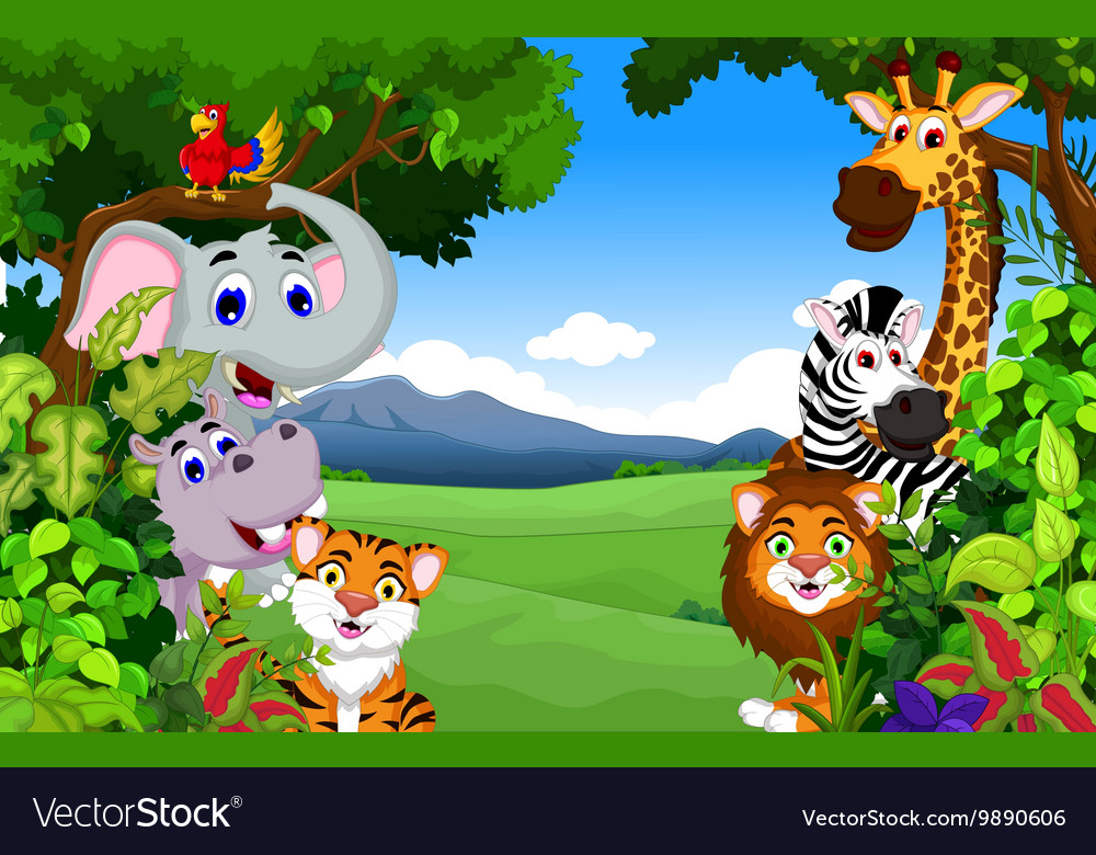 Dibujos Animados Animales Lindo Mar Fondo De Pantalla De: Funny Animal Cartoon With Forest Background Vector Image