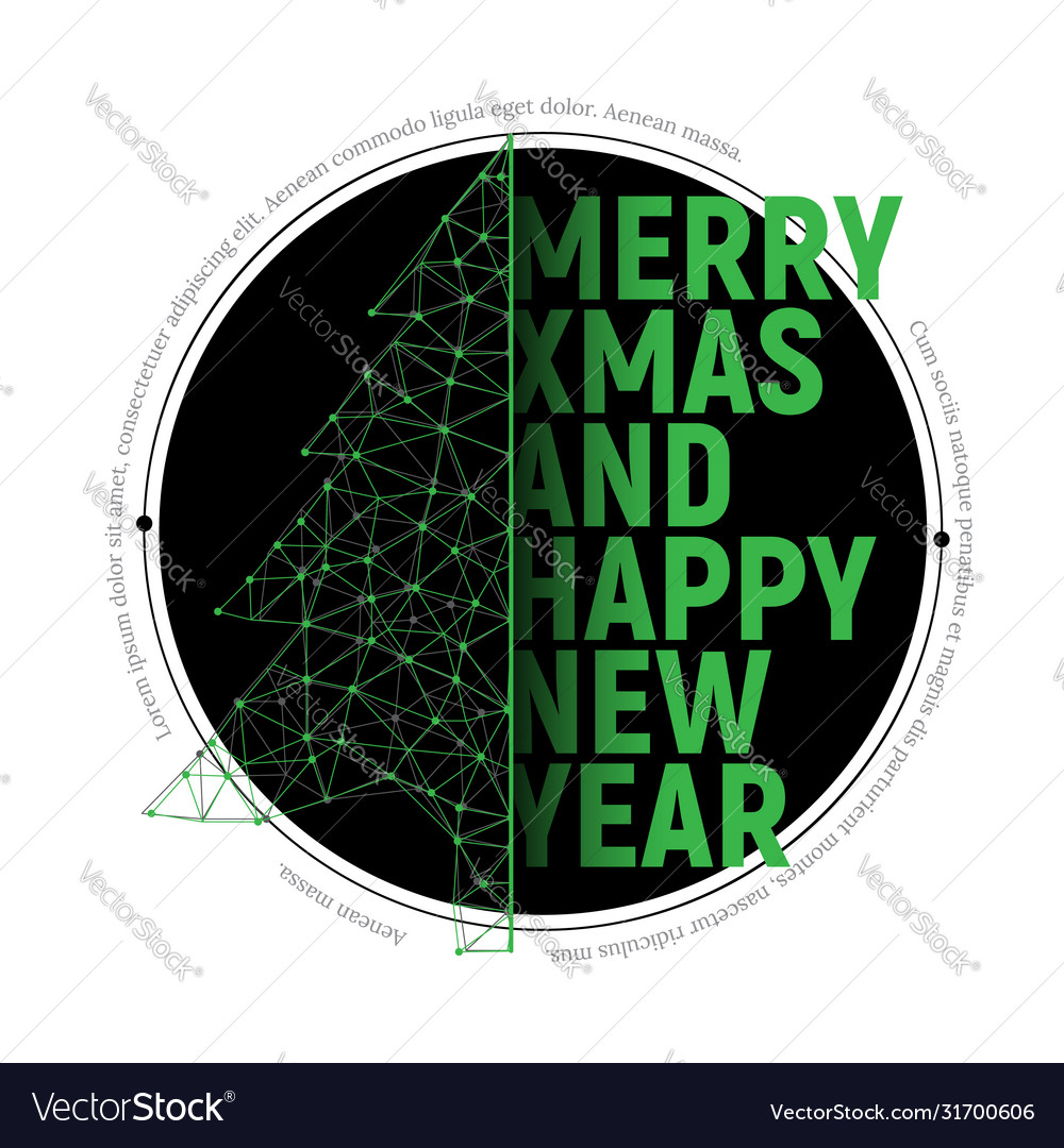 Green polygonal christmas tree with text