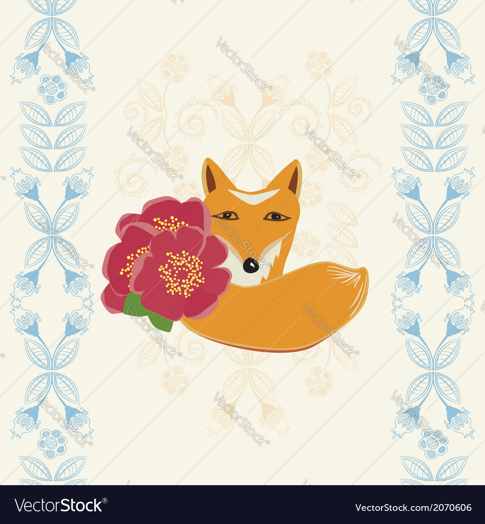 Happy Birthday Card With A Fox And Flowers Vector Image