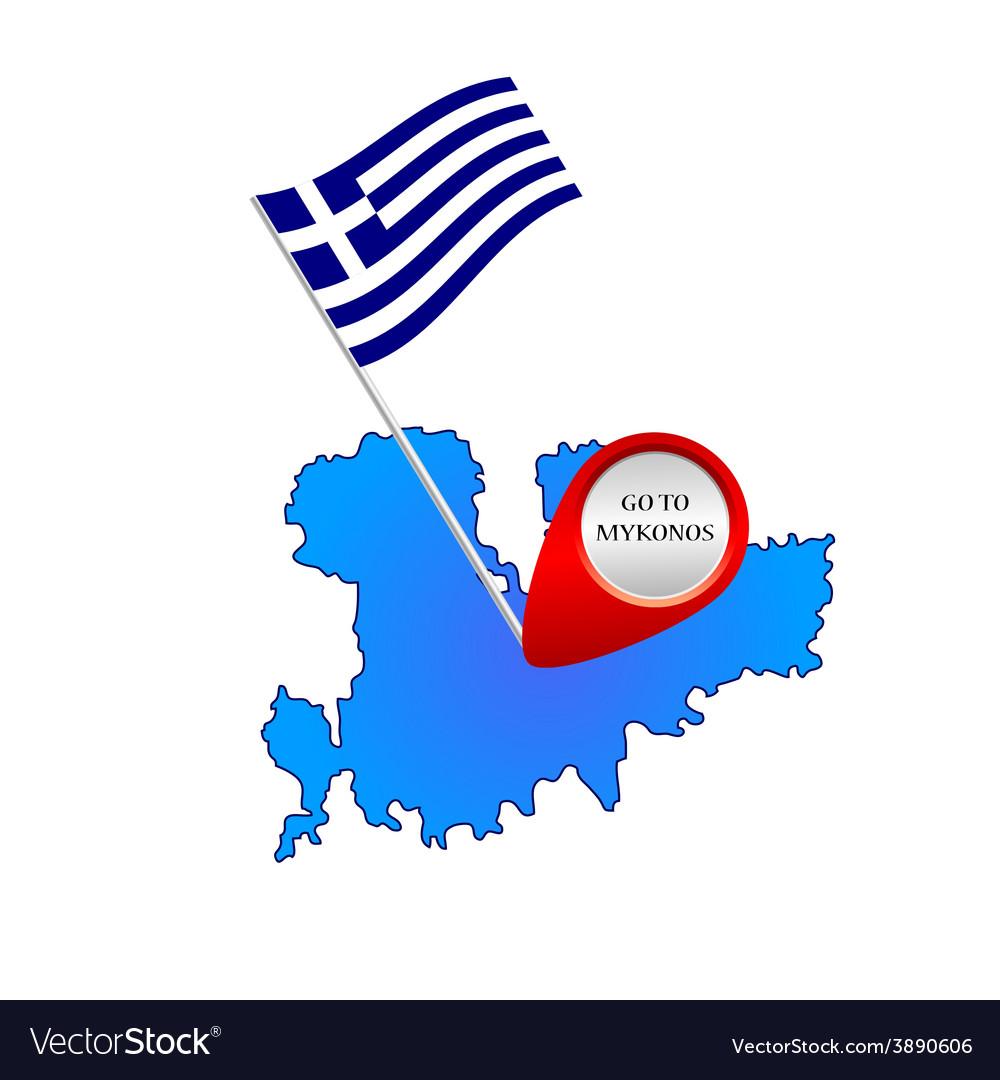 Map of mykonos greece color