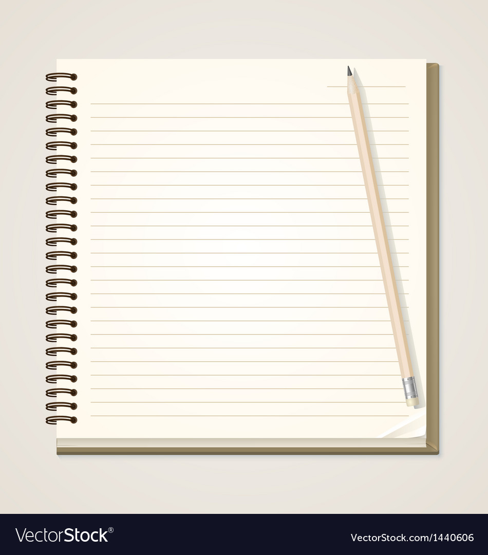 Paper notebook and pencil