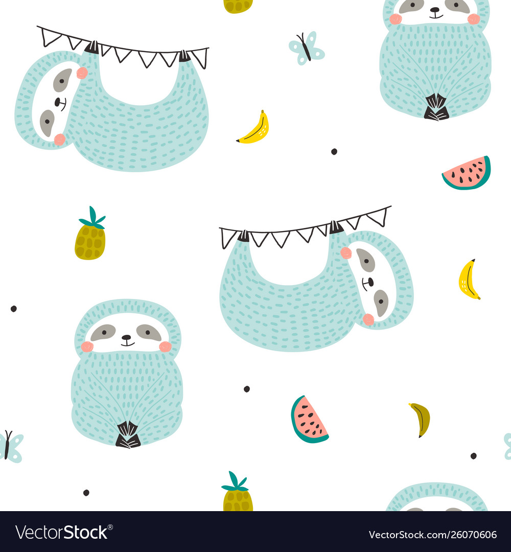 Seamless pattern with cute sloths and fruits