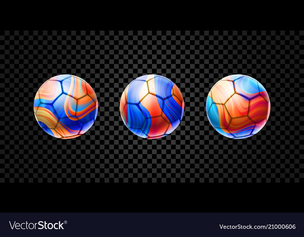 Set of abstract 3d balls for football
