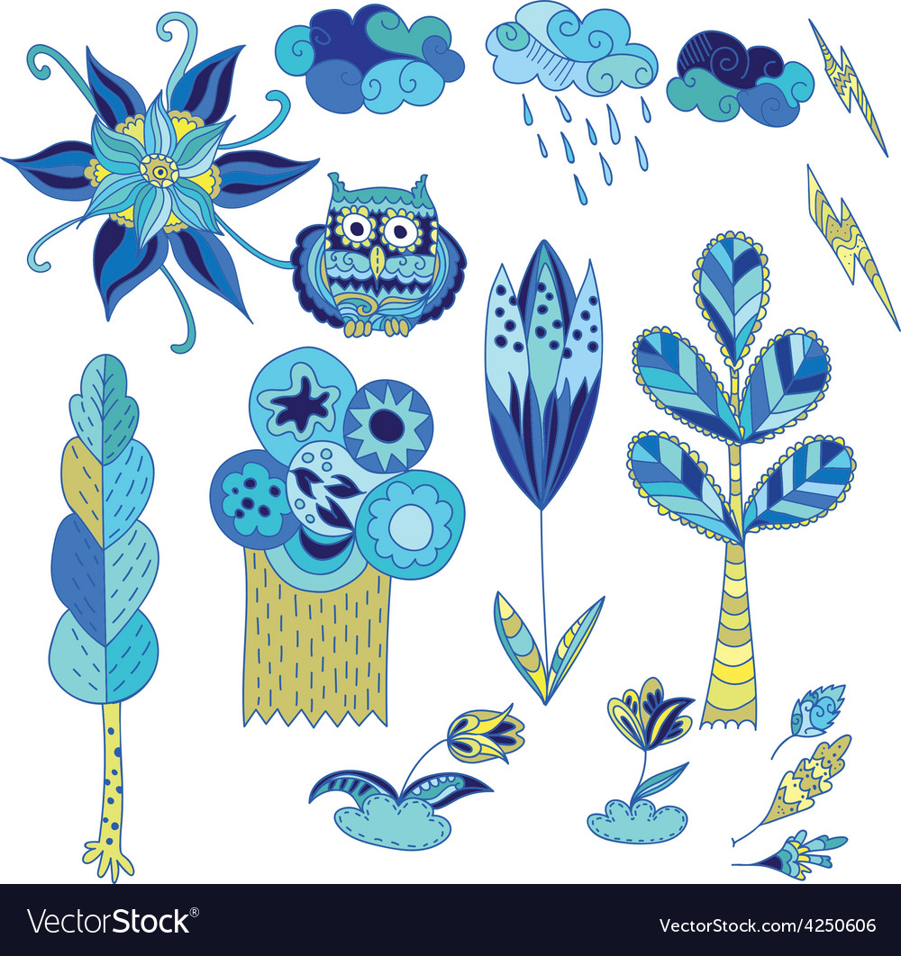Spring Doodle Design Elements Set