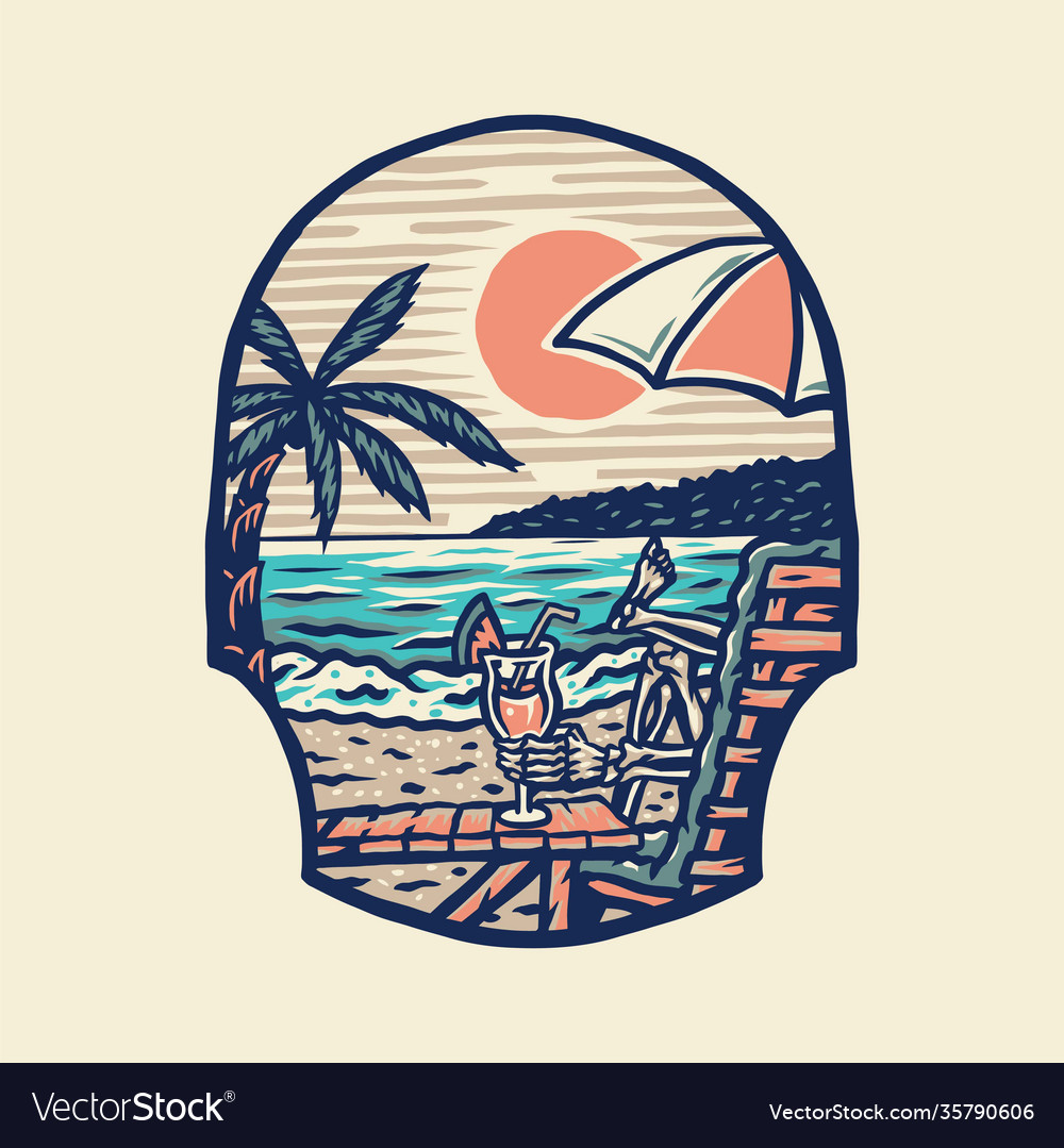 Summer beach t-shirt graphic design