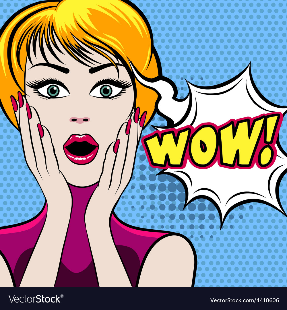 Surprised woman face with WOW bubble vector image