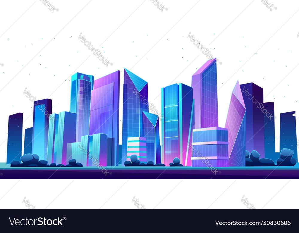 Urban building skyline panoramic night banner
