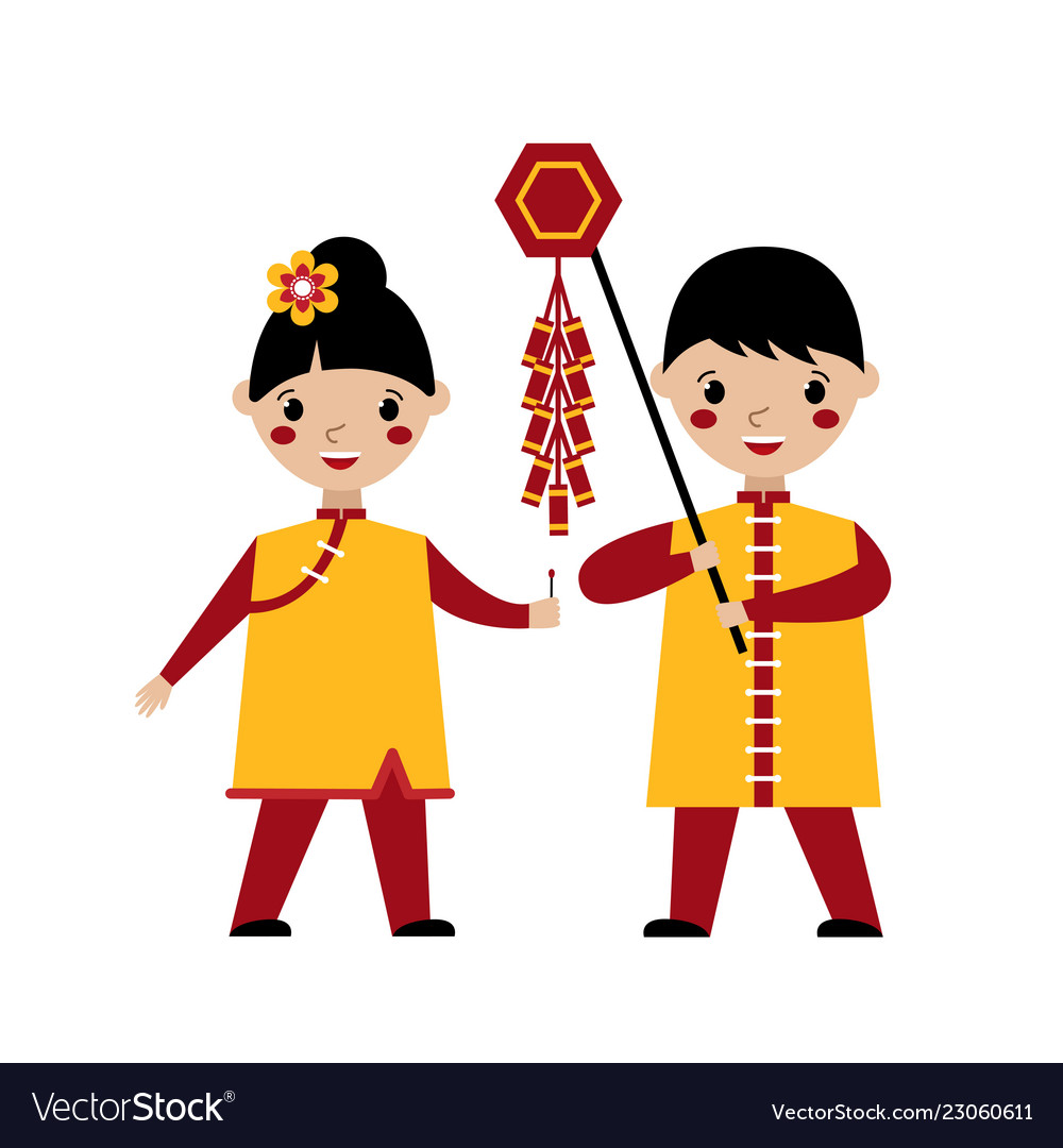 Asian kids playing with firecrackers