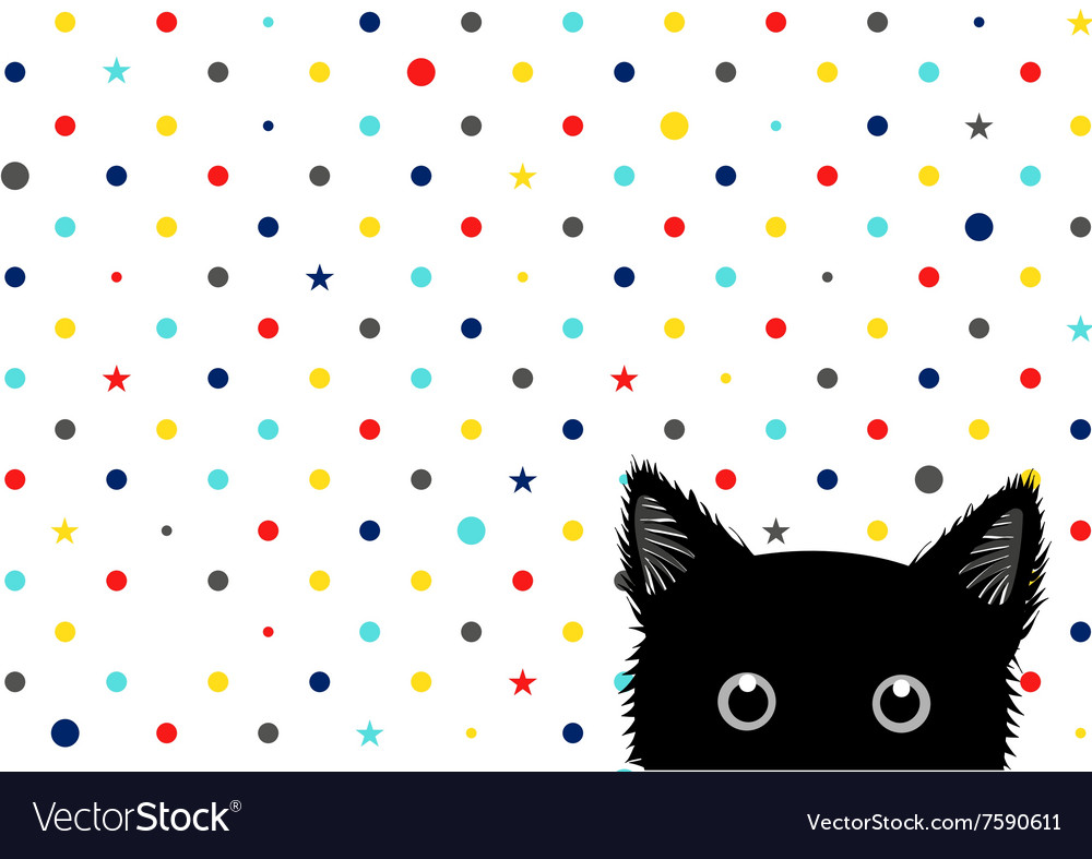 Black Cat Colorful Dots Star Background vector image