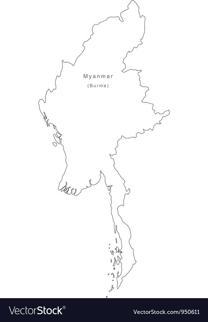 Black White Myanmar Outline Map vector image
