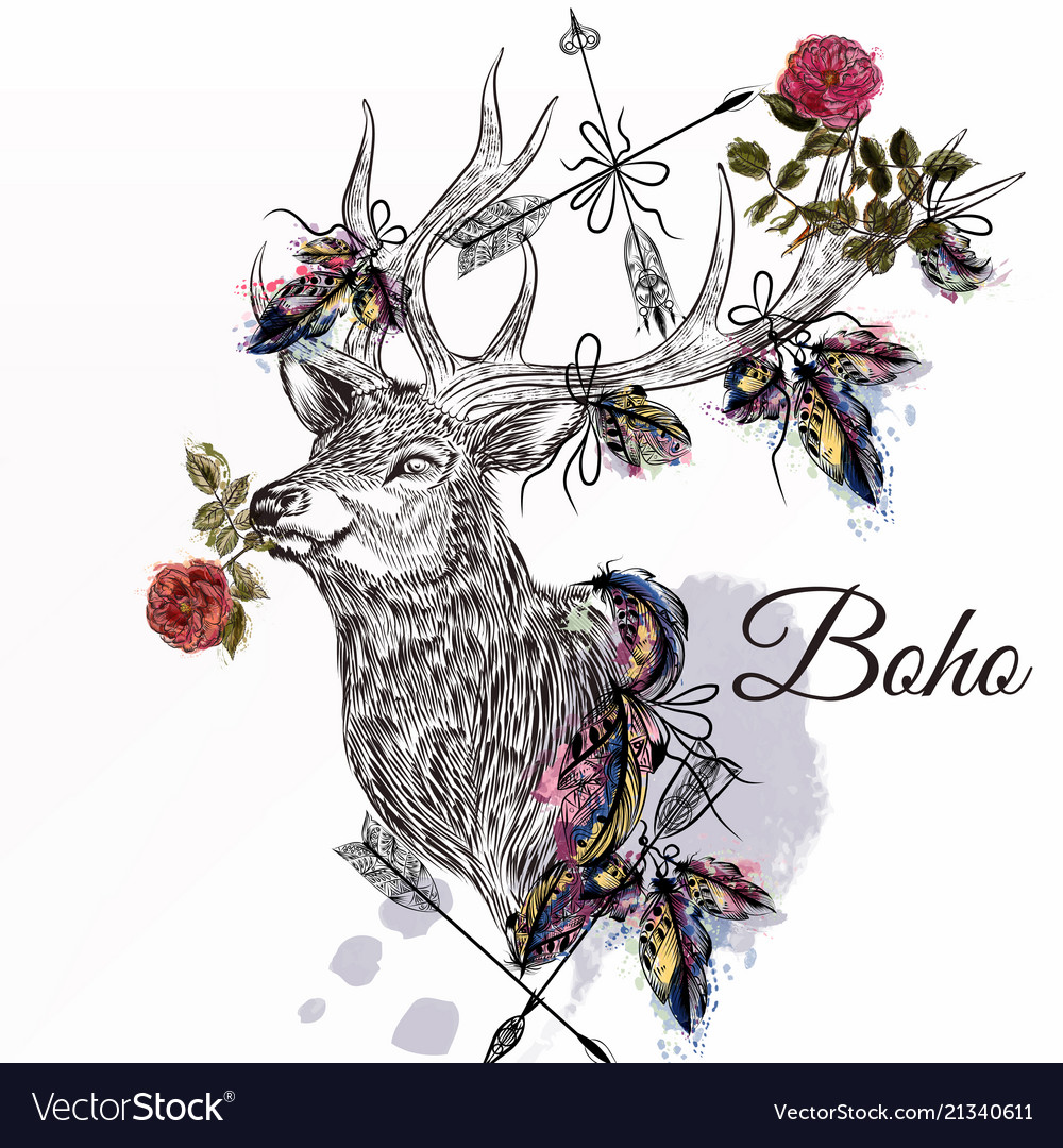 Deer with feathers and arrows holding rose flower