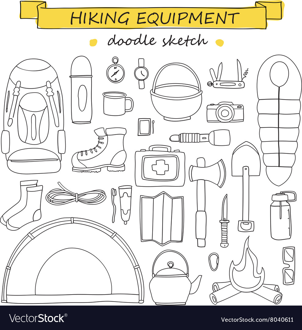 Doodle set of hiking and camping equipment