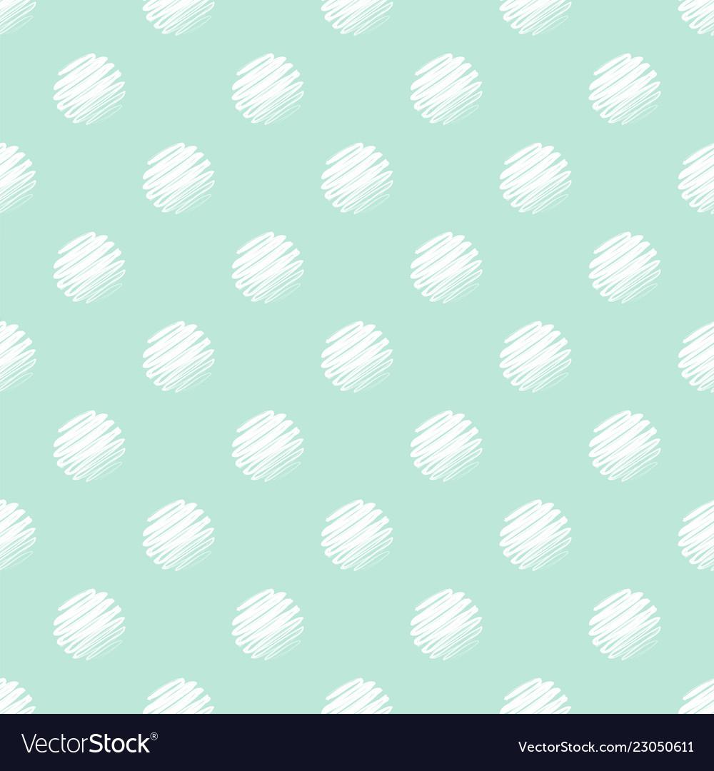 Green and white polka dot seamless pattern