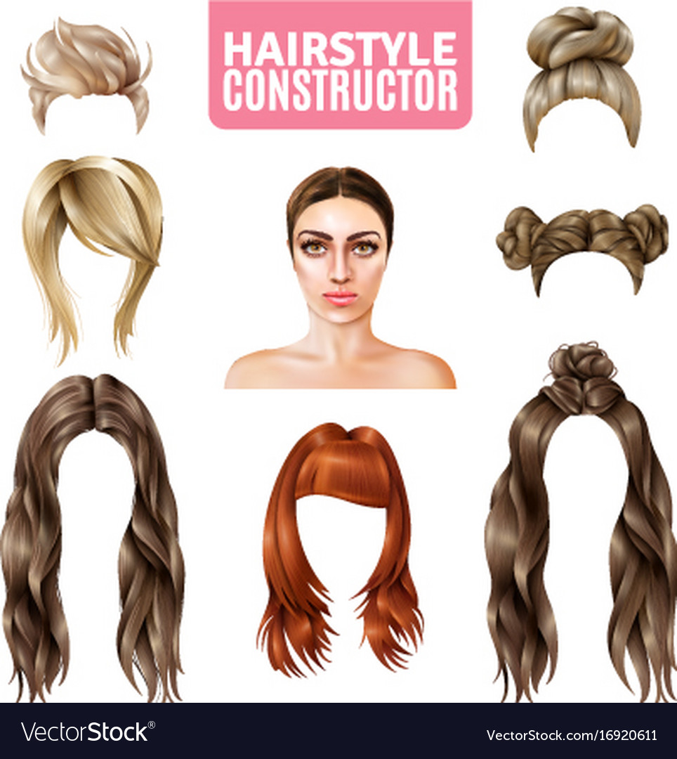 Hairstyles For Women Constructor Royalty Free Vector Image