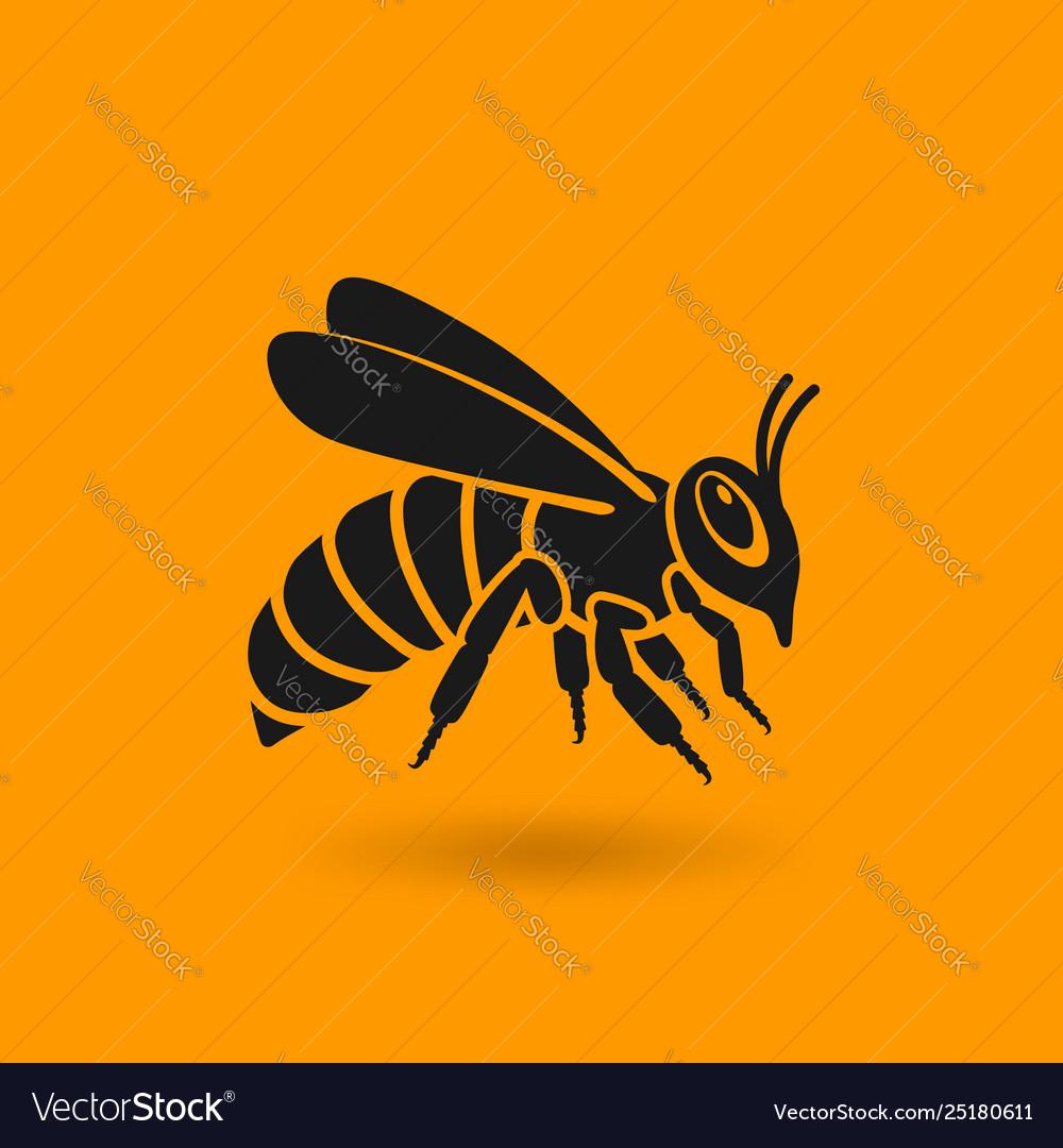 Honey bee silhouette on orange background