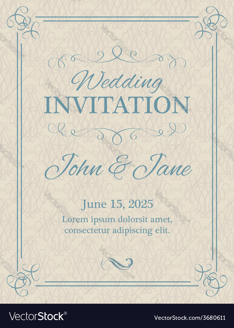 Invitation with calligraphy design elements