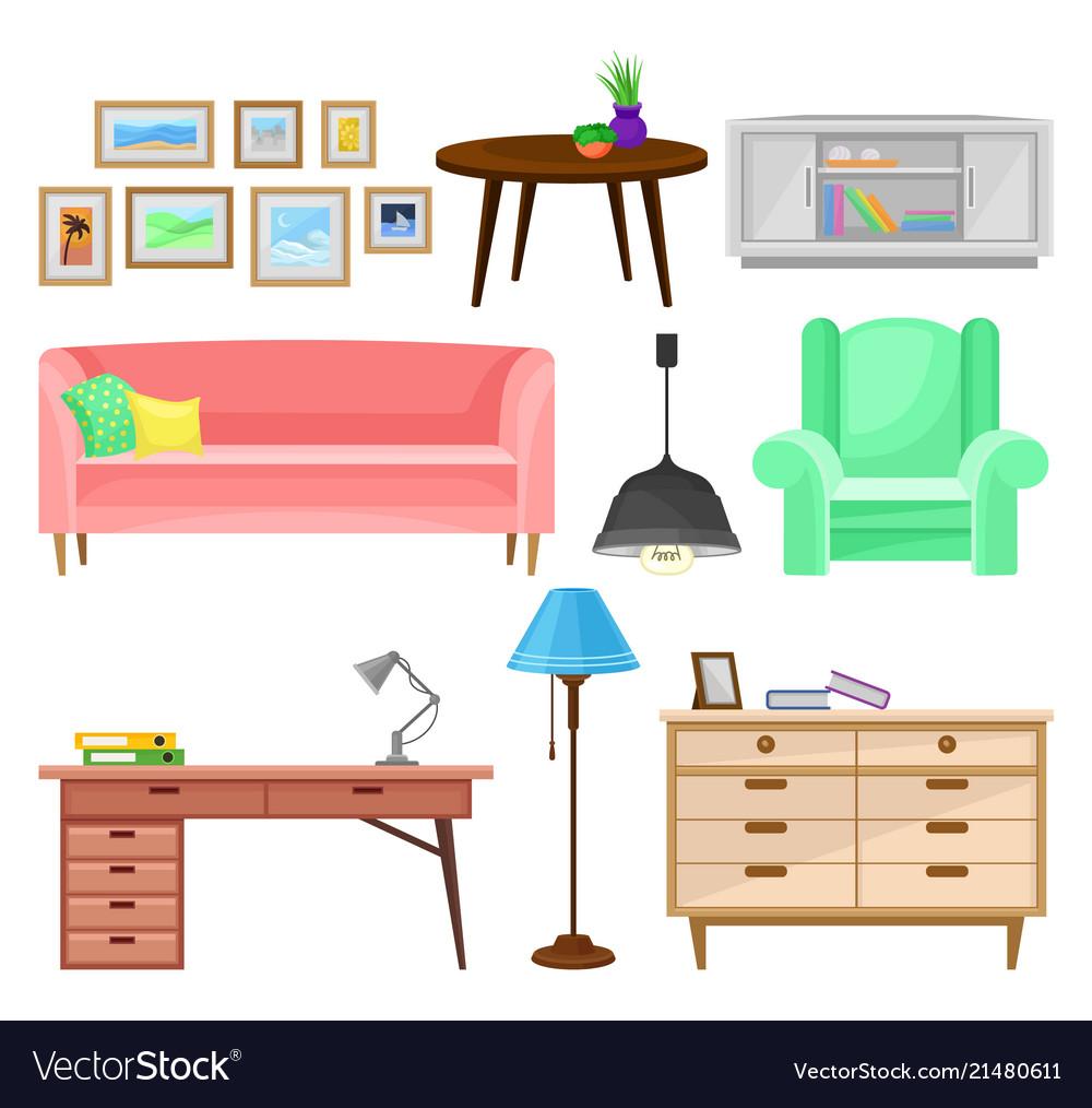 Modern furniture for living room set interior vector image