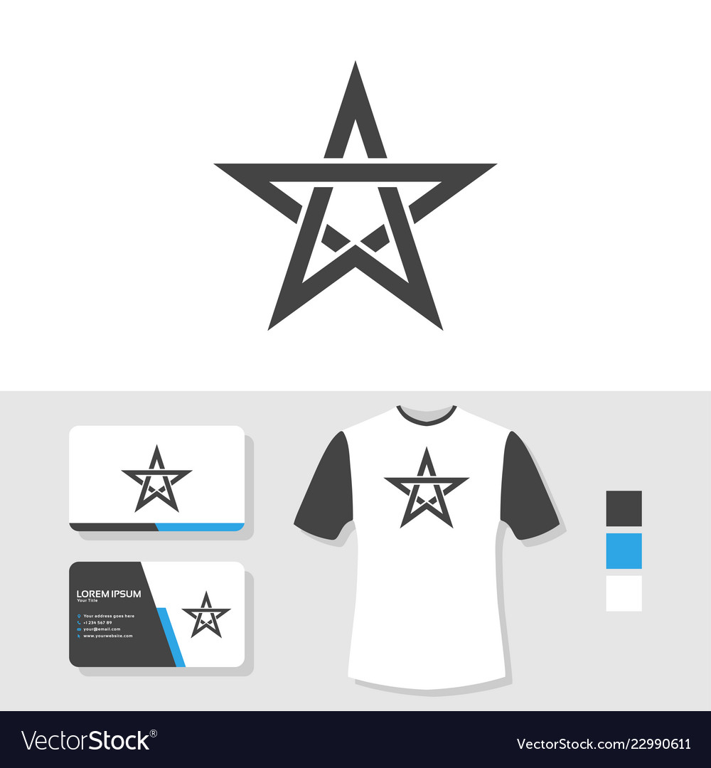 Star logo design with business card and t shirt
