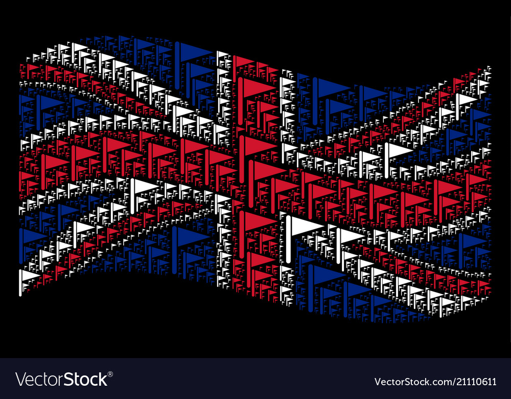 Waving great britain flag pattern of triangle flag