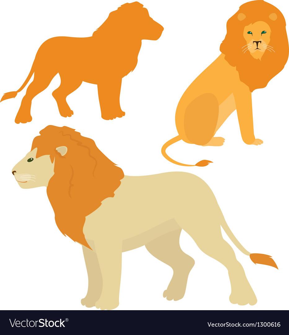 Cartoon lions set