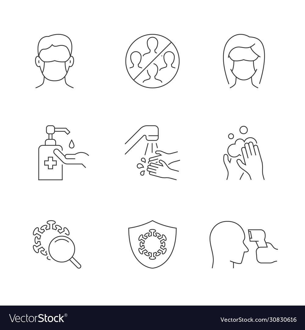 Coronavirus safety linear icons on white