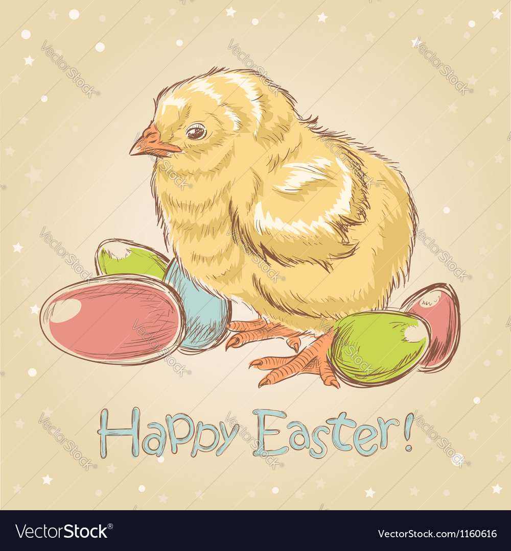 Easter vintage hand drawn card with little chicken