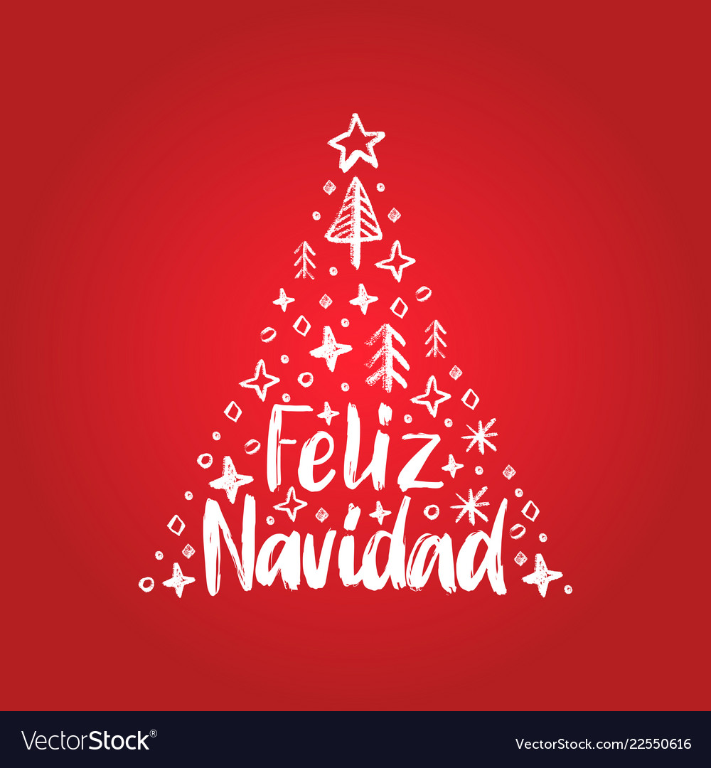 Feliz navidad handwritten phrase translated from