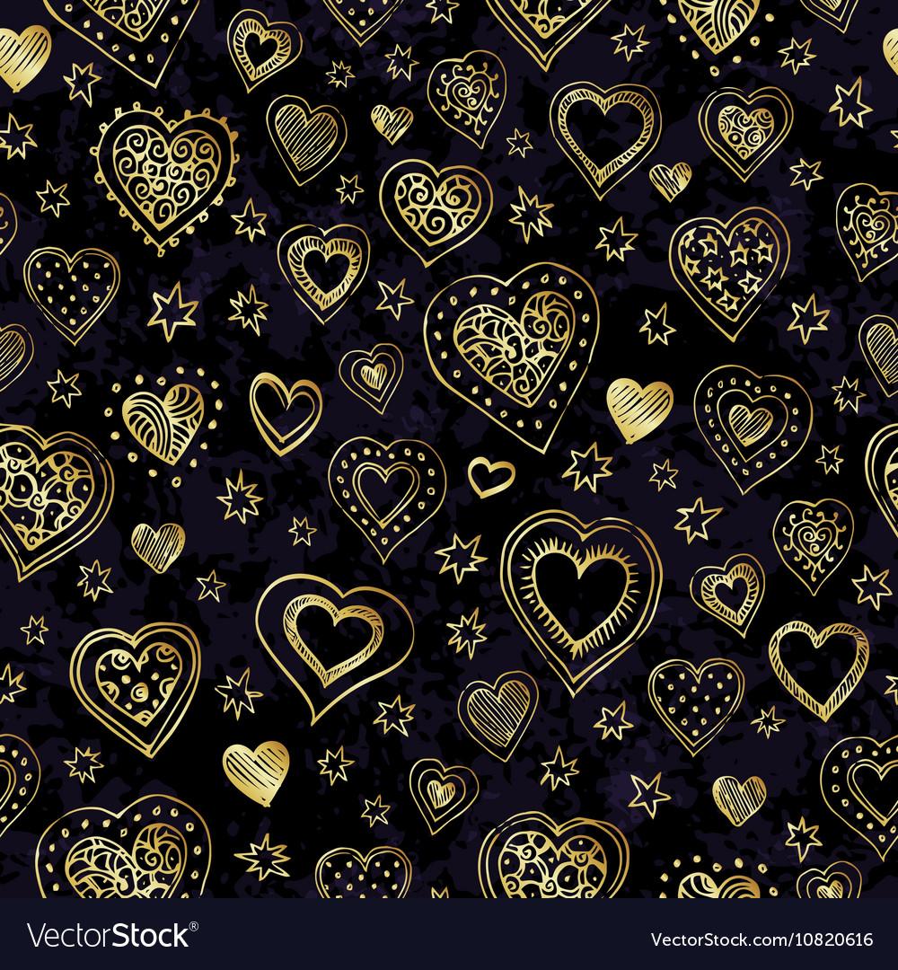 Gold hearts seamless pattern