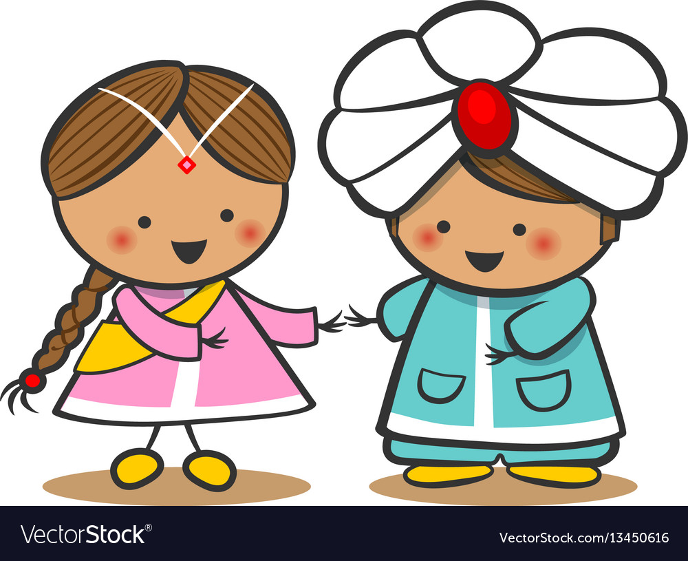 Indians in national dress a boy and a girl in