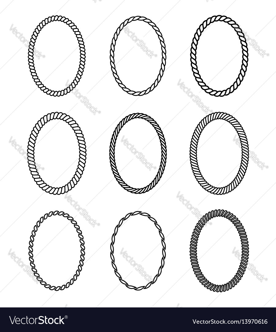 Rope set oval frames collection thick and