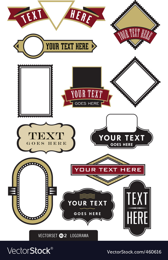 Set of 12 logo or label frames vector image
