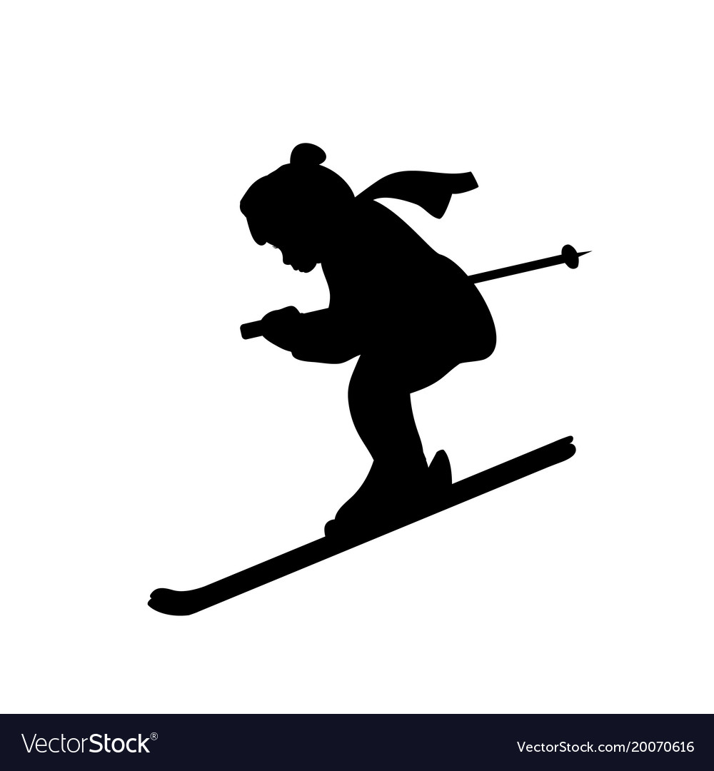Silhouette girl winter sport ski