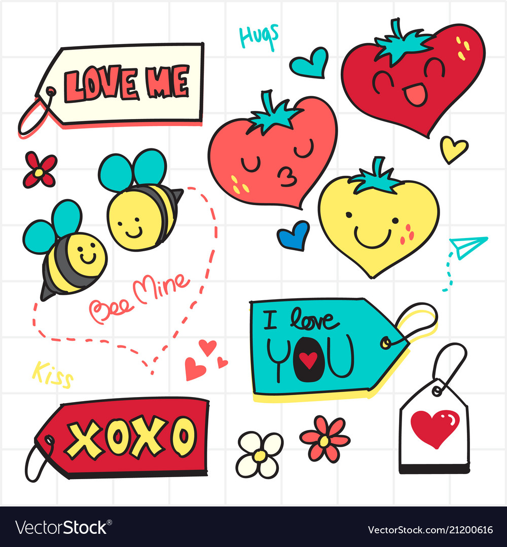 Valentine doodle love tag and romantic icon