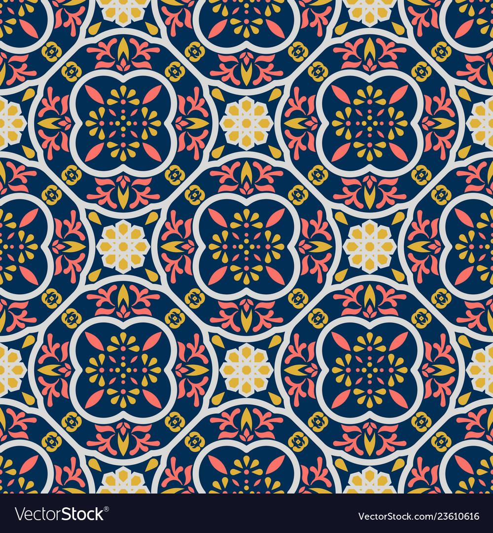 Vintage floor tiles ornament purple pattern