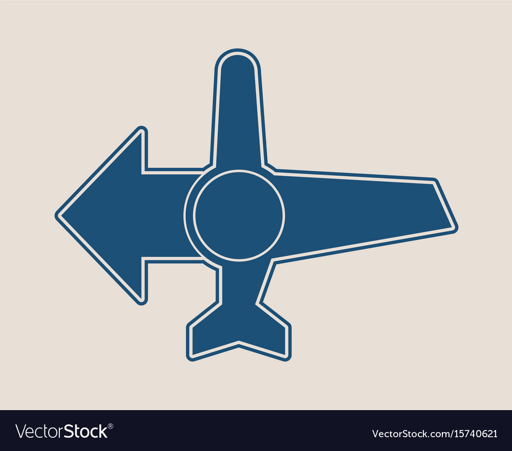 Airplane icon and destination arrow vector image