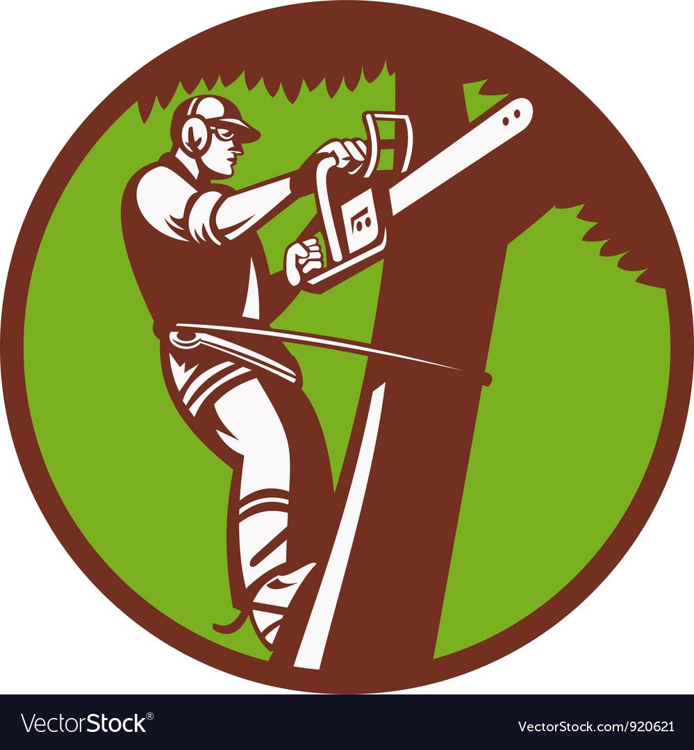 Arborist Tree Surgeon Royalty Free Vector Image