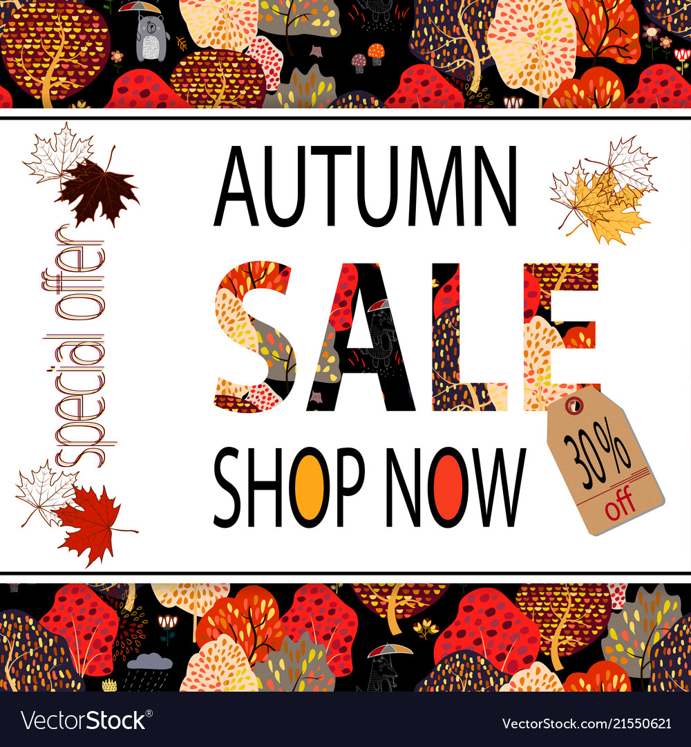 Autumn sale banner with autumn creative background