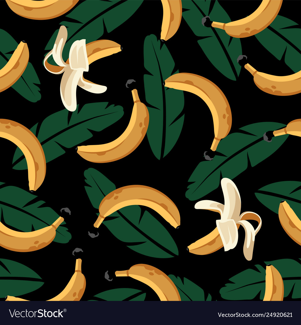 Banana seamless pattern with leaves