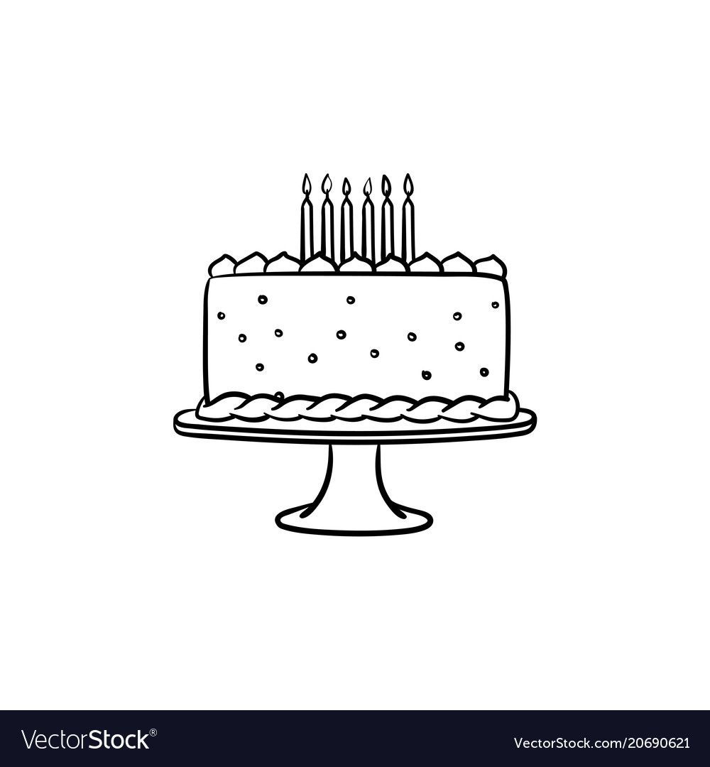 Fantastic Birthday Cake Hand Drawn Sketch Icon Royalty Free Vector Birthday Cards Printable Trancafe Filternl