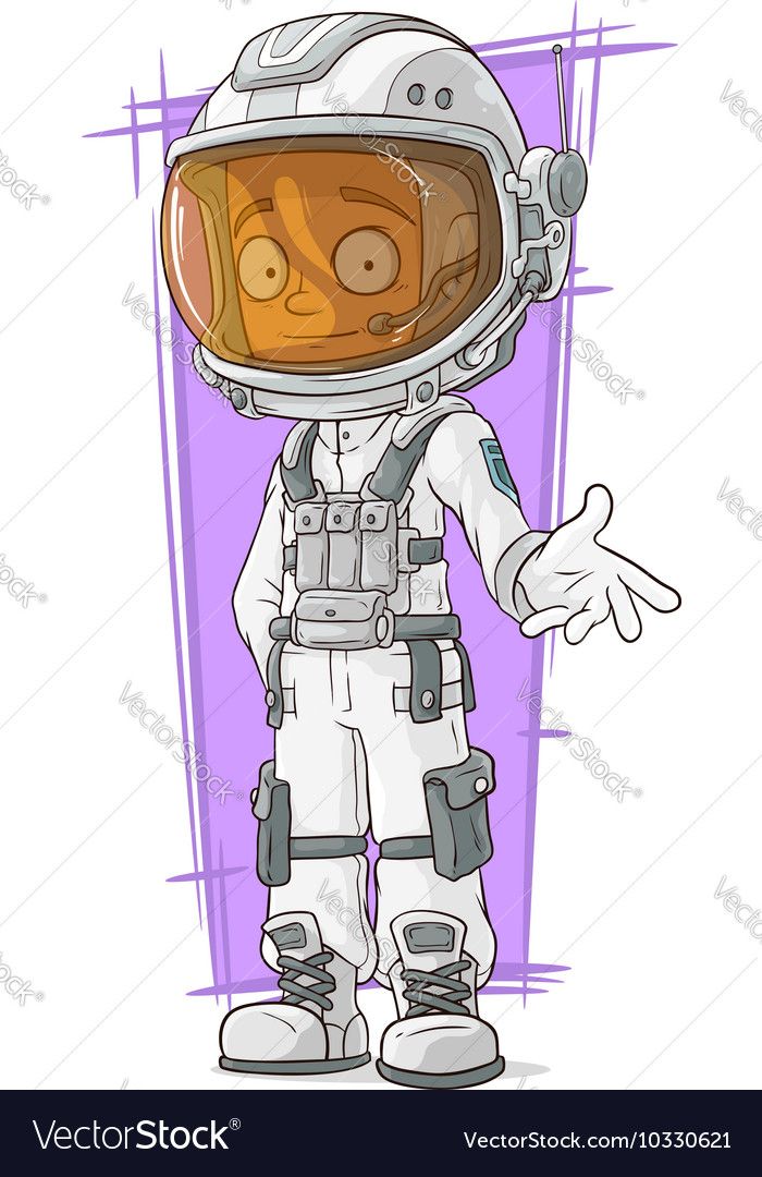Cartoon Astronaut In White Space Suit Royalty Free Vector
