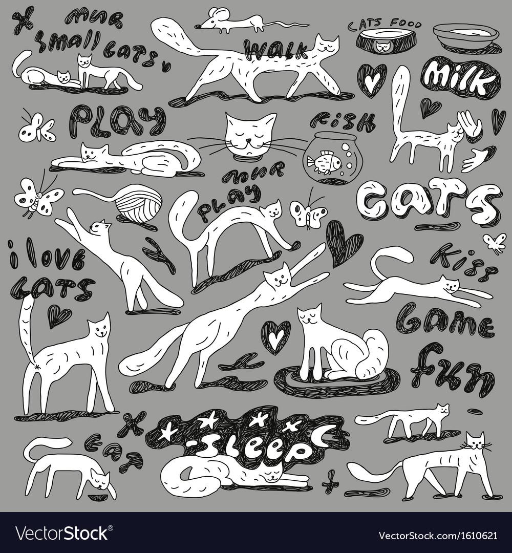 Cats - doodles set