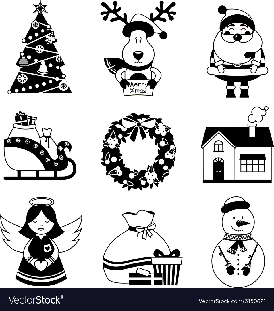 Merry Christmas Images Black And White.Christmas Icons Black And White