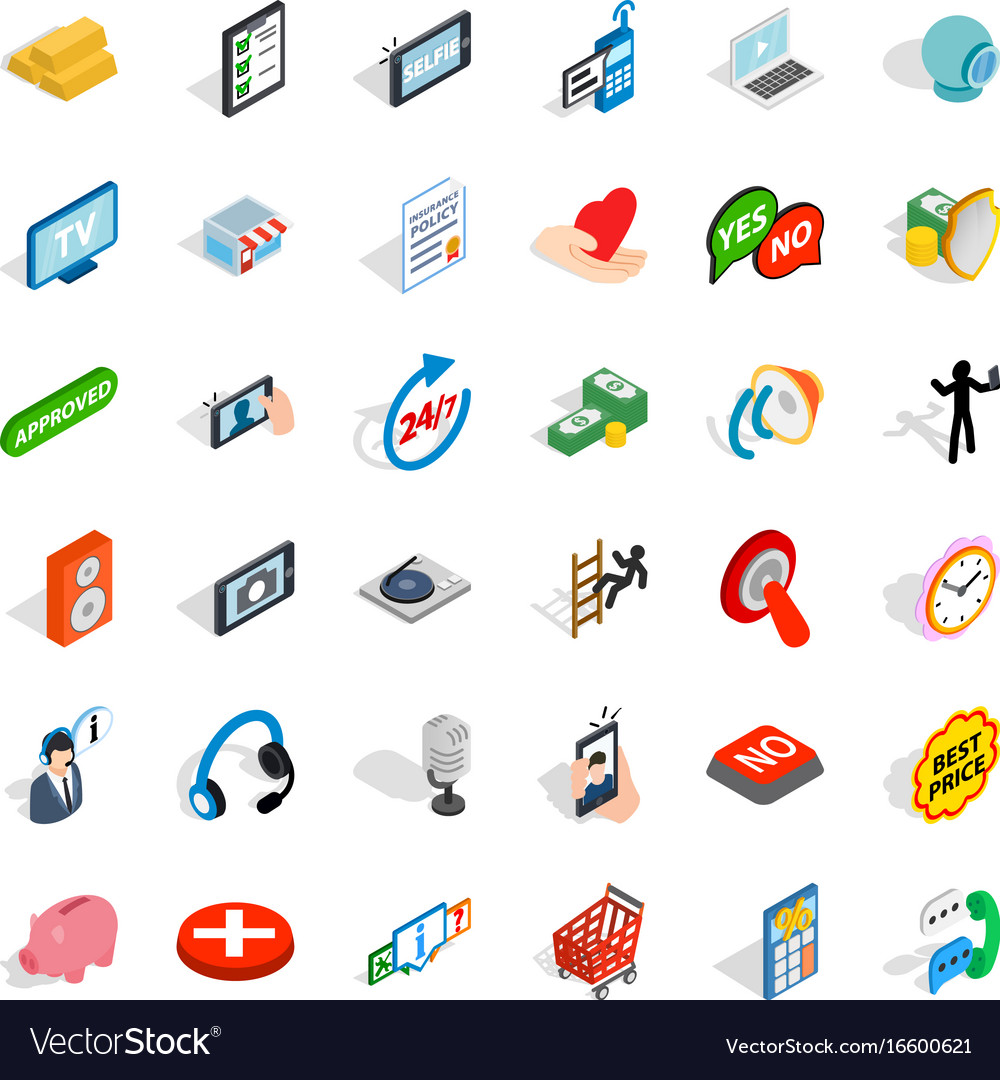 Communication icons set isometric style