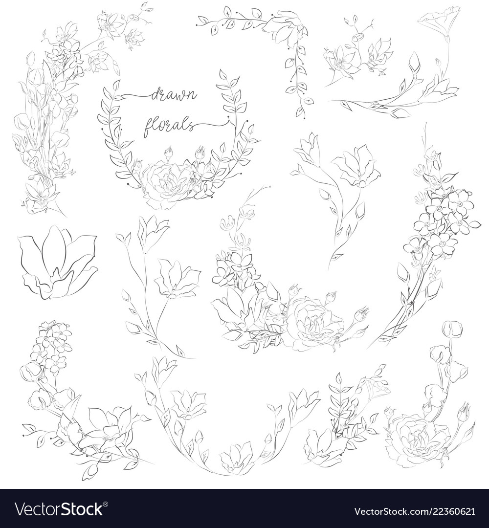 Drawn plants and flowers wreaths corners