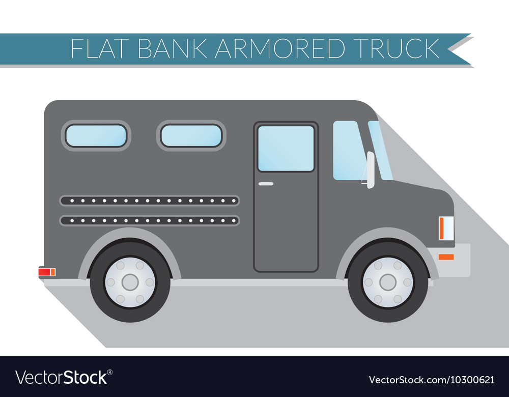 Flat design city Transportation bank armored Truck