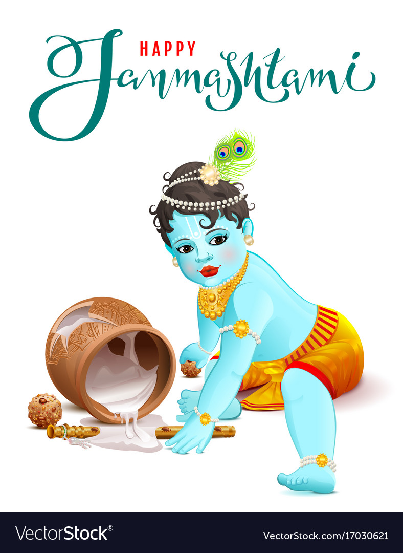 Happy krishna janmashtami blue boy god broke pot